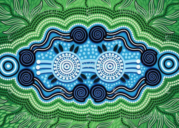 Aboriginal dot art vector painting. Nature concept