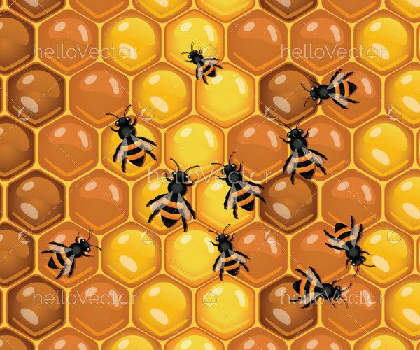 Working bees on honey cells background