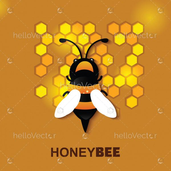 Bee with honeycomb in paper cut style background