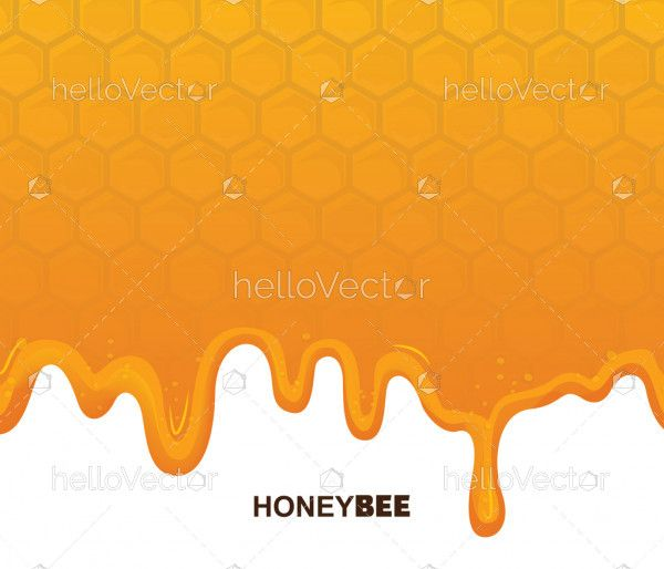 Seamless honeycomb pattern with flowing honey