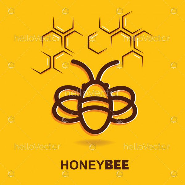 Bee and honeycomb outline on yellow background