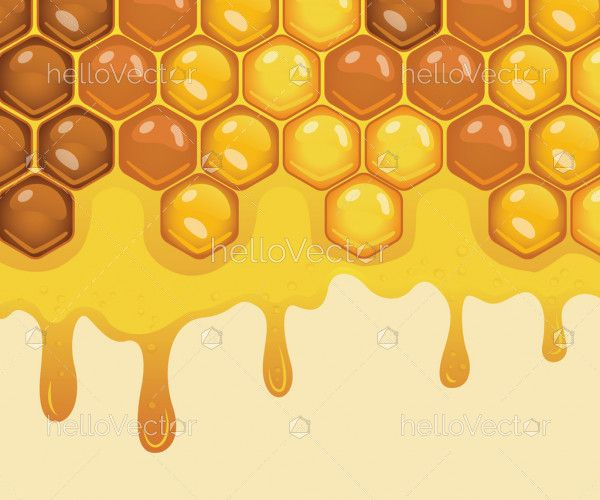 Honeycomb with flowing honey background