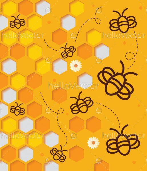 Abstract honeycomb background with flying bee in paper cut design