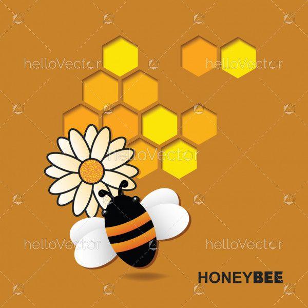 Bee on flower in paper cut design