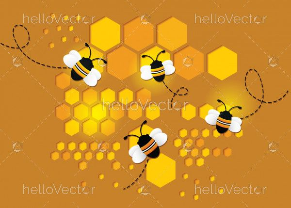 Flying bee on honeycomb paper cut design background