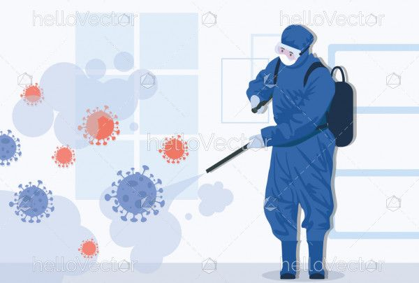 Virus disinfection concept illustration