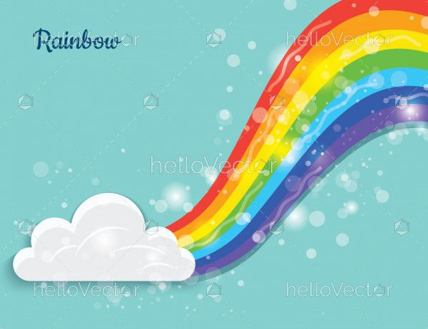 Bright abstract color rainbow with cloud