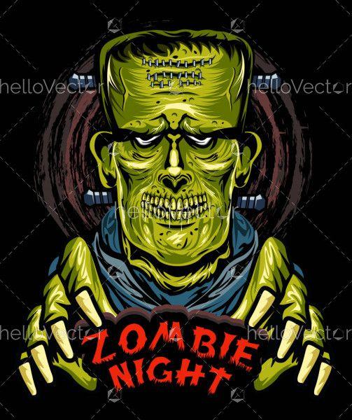 Frankenstein Zombie Horror Illustration