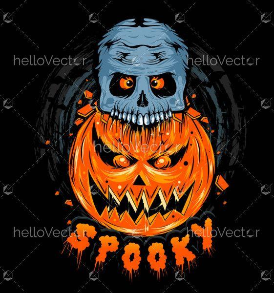 Pumpkin and skull spooky illustration