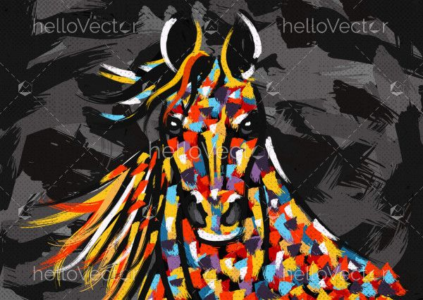 Abstract horse portrait painting