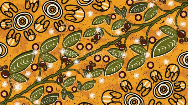 Aboriginal art vector background with bush leaves