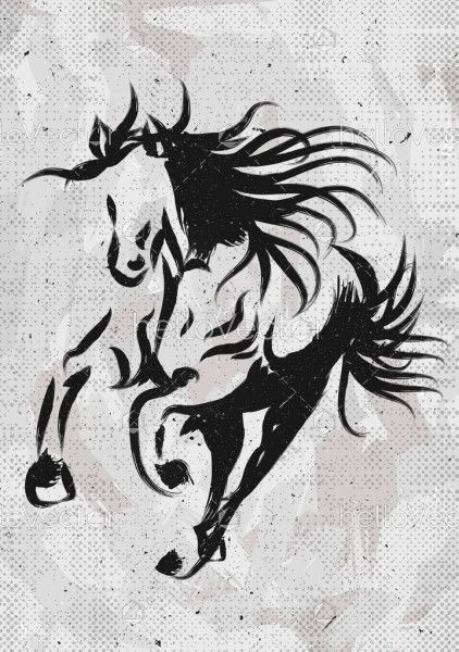 Painting of a running horse