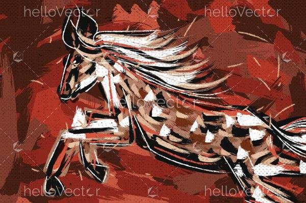 Painting of a horse rearing up