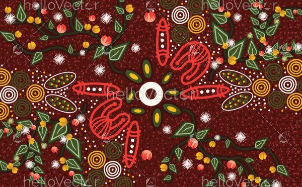 Bush leaves aboriginal art vector background
