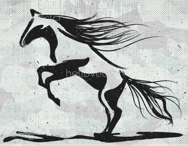 Abstract rearing horse painting.