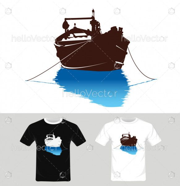 Boat Vector - T-shirt graphic design with boat illustration.