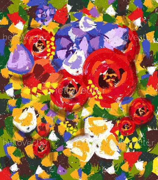 Floral abstract flower painting.
