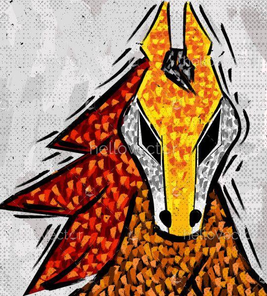 Abstract horse head art
