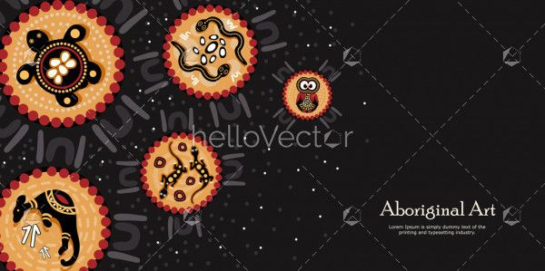 Animals aboriginal art banner background