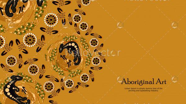 Kangaroo aboriginal art banner background