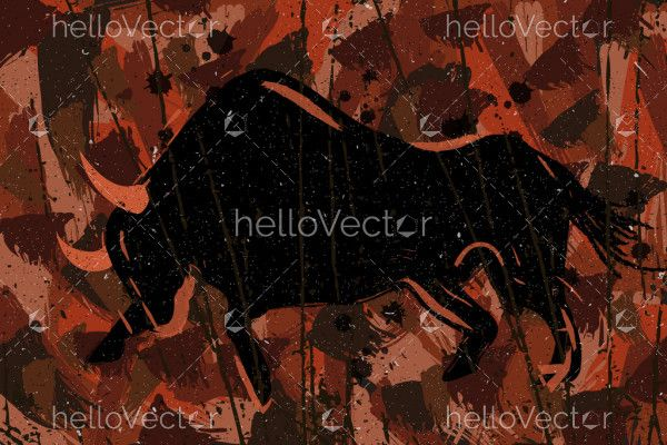 Raging bull abstract painting