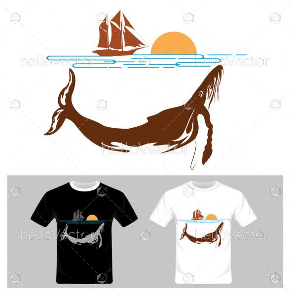 Abstract Fish Vector,  River and Boat, T-shirt graphic design