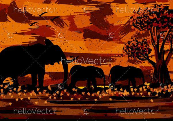 Elephant Painting Sunset