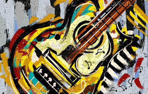 Abstract Guitar Art Illustration