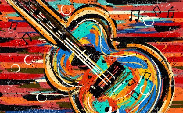 Guitar art. Music painting