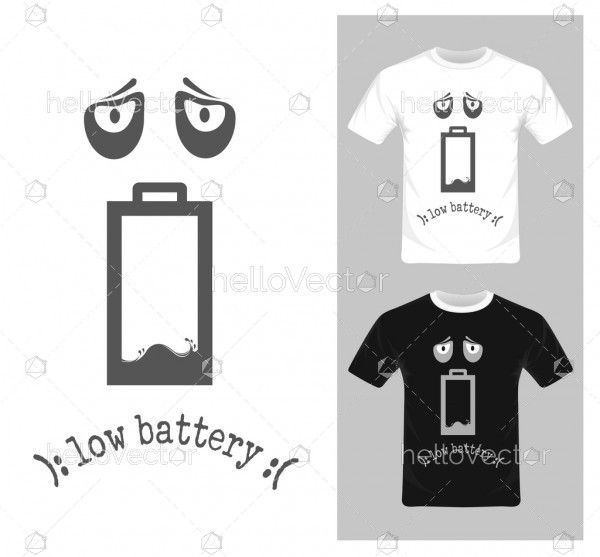 Low battery cartoon character - Vector illustration. T-shirt graphic design