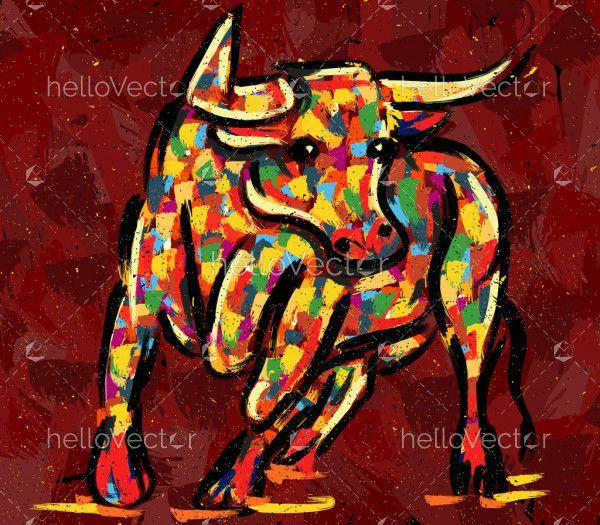 Bull Painting Illustration