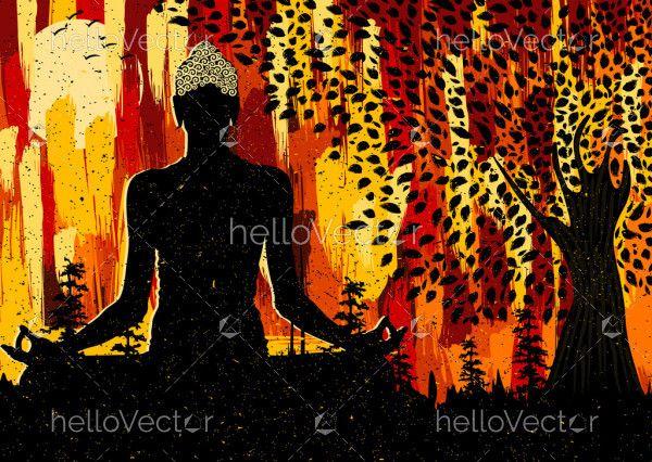 Meditating Buddha Abstract Painting