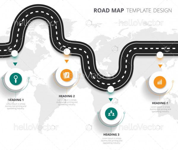Business road map timeline infographic