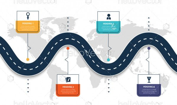 Road map timeline infographic for business