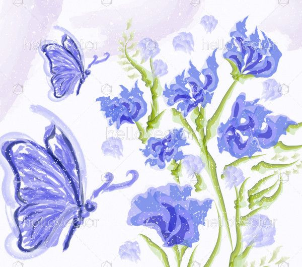 Butterfly watercolor abstract painting