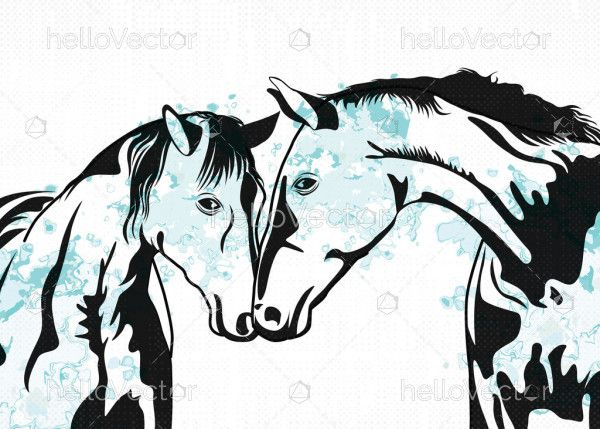 Horse couple painting abstract