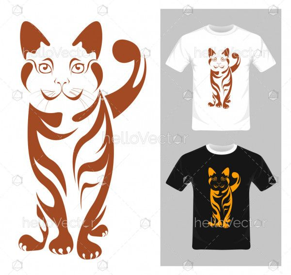 Cat vector illustration. T-shirt graphic design with abstract cat.