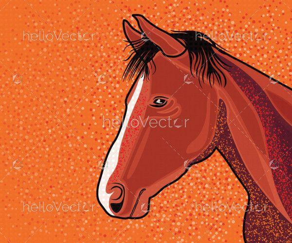 Digital Painting Of Horse Head