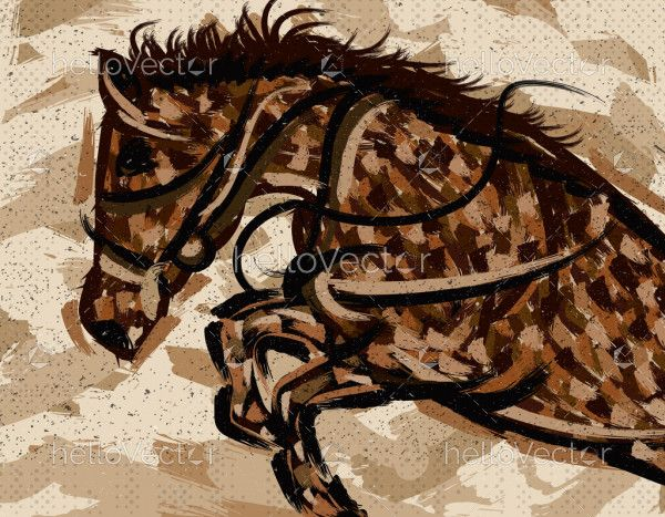 Rearing Horse Head Painting