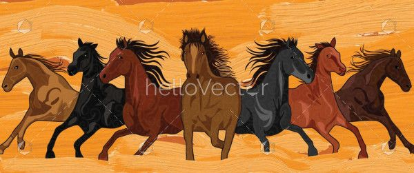 Seven Running Horses Painting