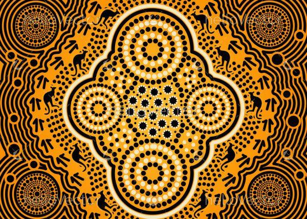 Yellow aboriginal art background