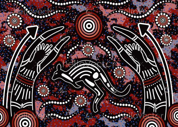 Hunting aboriginal art painting