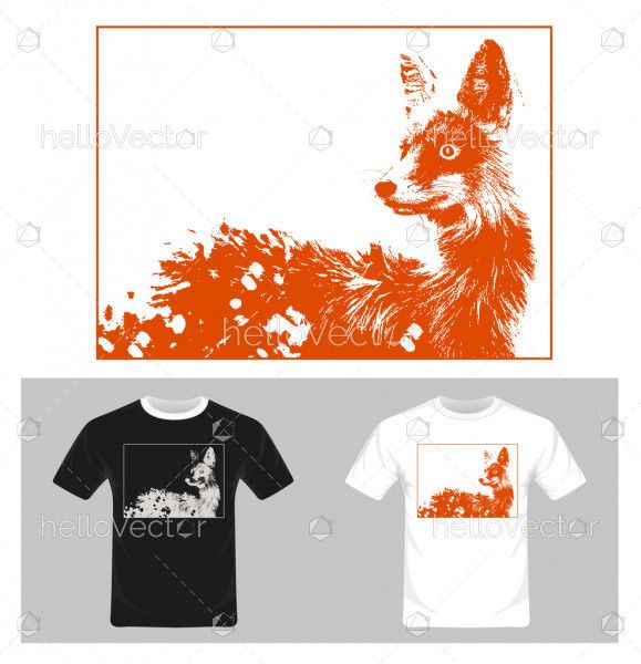 Fox vector. T-shirt graphic design illustration.
