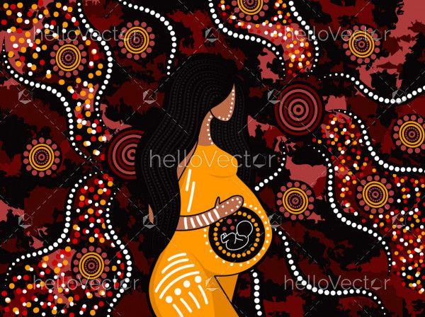 Pregnant women aboriginal art background