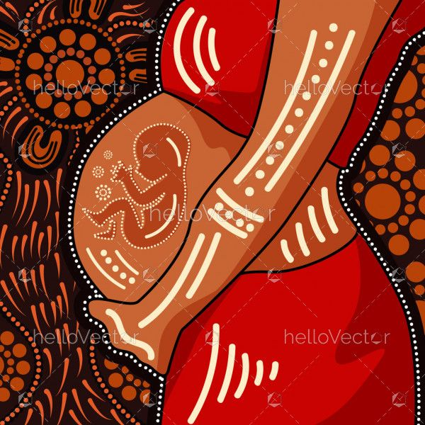 Art of a pregnant woman in aboriginal style