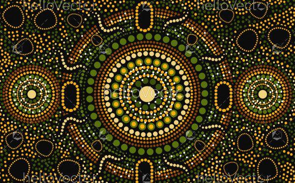 Dot art aboriginal green background