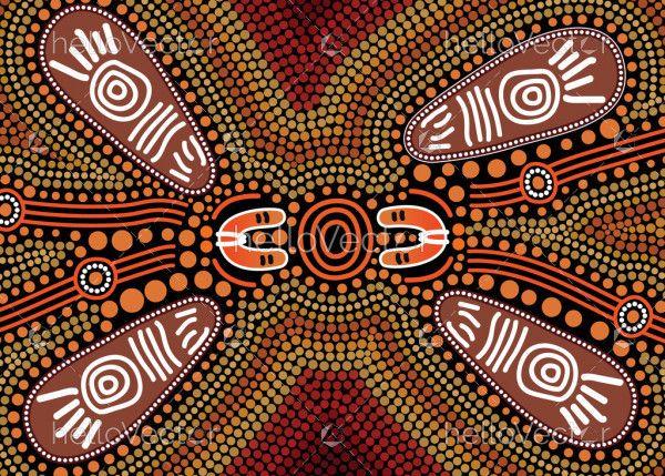 Aboriginal vector dot art with shield