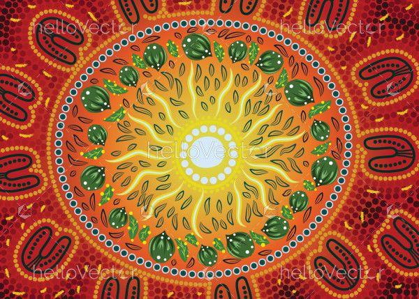 Bush leaves aboriginal art