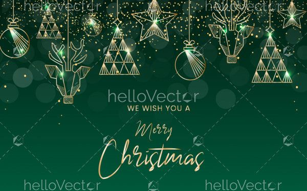 Green Christmas Hanging Decorations Background