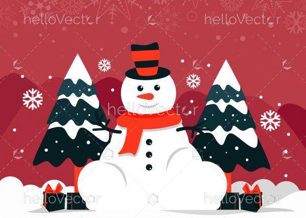Merry Christmas snowman character